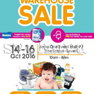 Sell  Baby Warehouse Sales: 14-16 Oct 2016 at Jaya One Event Hall...