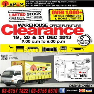 Sell warehouse sales apex office furniture warehouse sale for Furniture warehouse sale