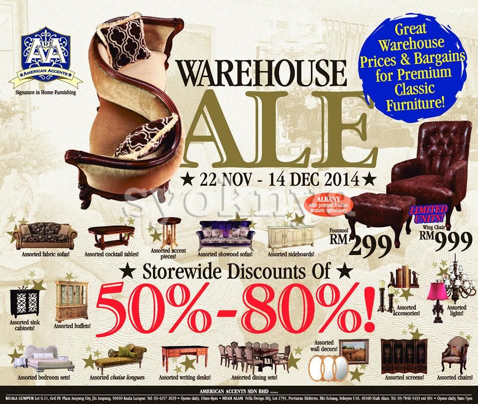 Sell American Accents Furniture Warehouse Sale Clearance   Storewide 22  Nov 14 Dec 2014. Sell American Accents Furniture Warehouse Sale Clearance