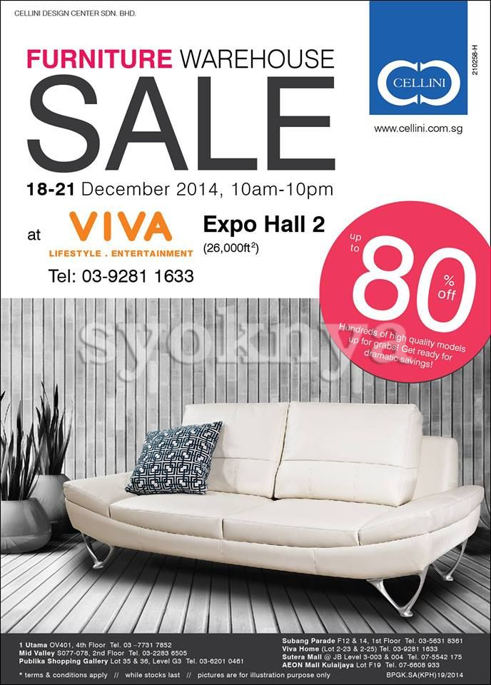 Sell Celini Malaysia Warehouse Sale 2014 For Furniture Clearance Viva Home Expo Hall 18 21 Dec